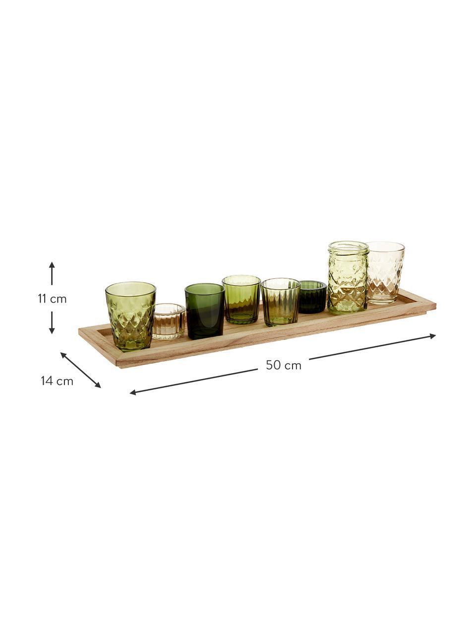 Komplet świeczników Wibke, 9 elem., Odcienie zielonego, jasny brązowy, S 50 x W 11 cm