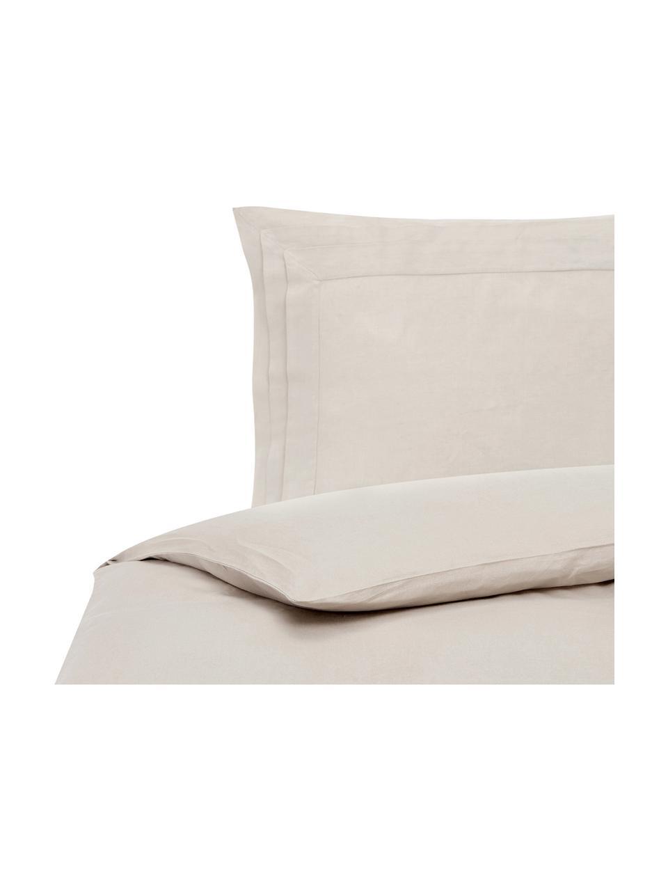 Pościel z lnu z efektem sprania Helena, Beżowy, 135 x 200 cm + 1 poduszka 80 x 80 cm