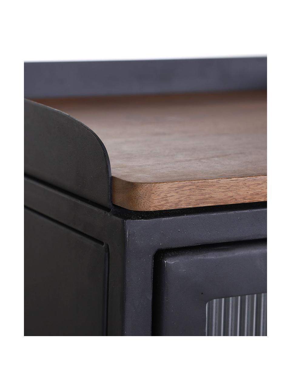 Metalen ladekast Magnus met glazen voorkant, Frame: gelakt metaal, Plank: mangohout, Zwart, 85 x 90 cm