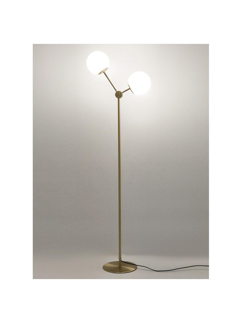 Lampa podłogowa ze szkła opalowego Aurelia, Mosiądz, biały, Ø 25 x W 155 cm