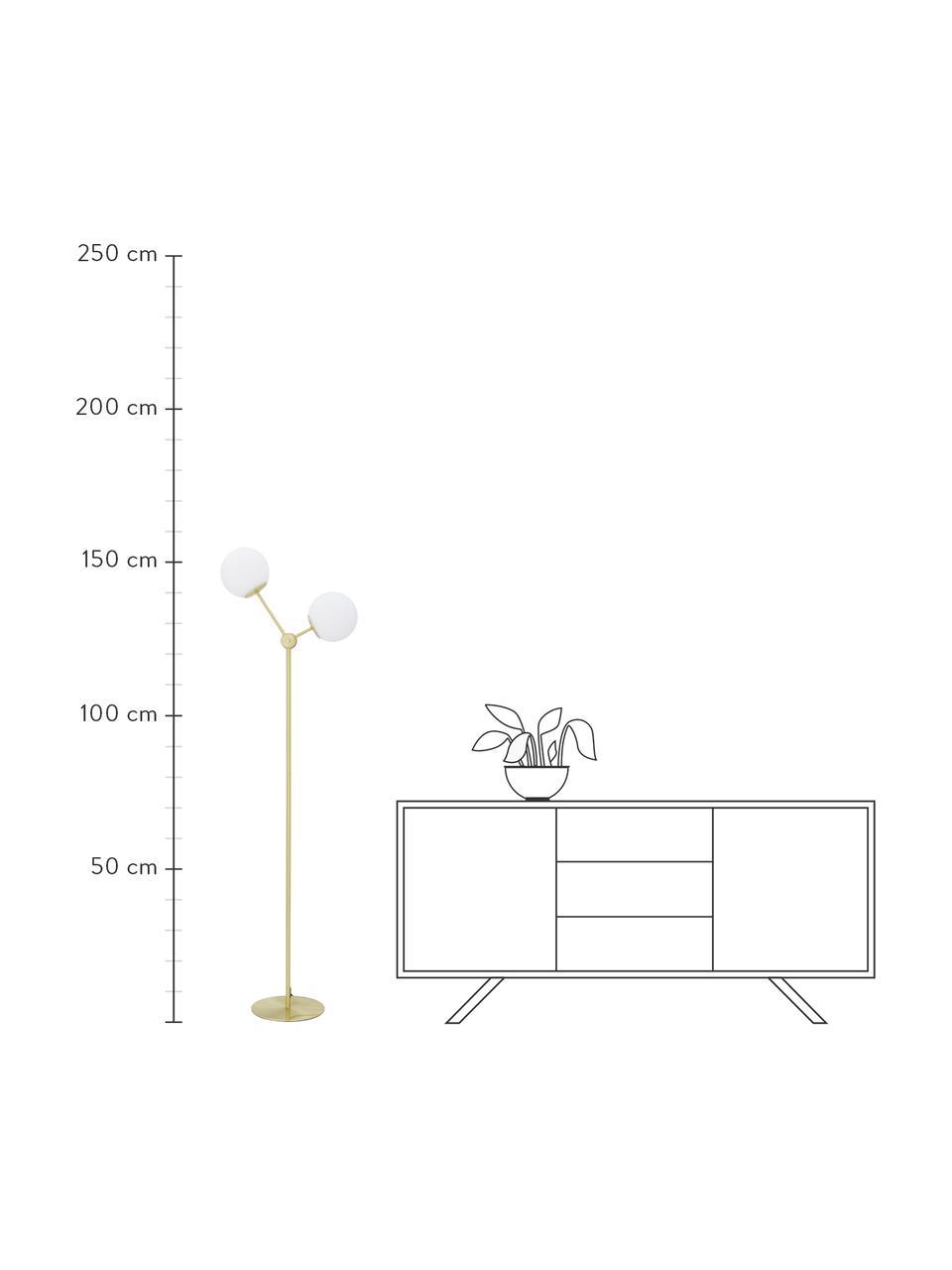 Lampada da terra in vetro opale Aurelia, Paralume: vetro, Base della lampada: metallo ottonato, Ottone, bianco, Ø 25 x Alt. 155 cm
