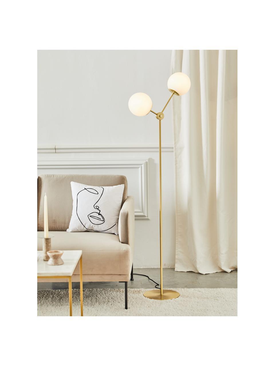 Vloerlamp Aurelia van opaalglas, Lampvoet: vermessingd metaal, Messingkleurig, wit, Ø 25 cm