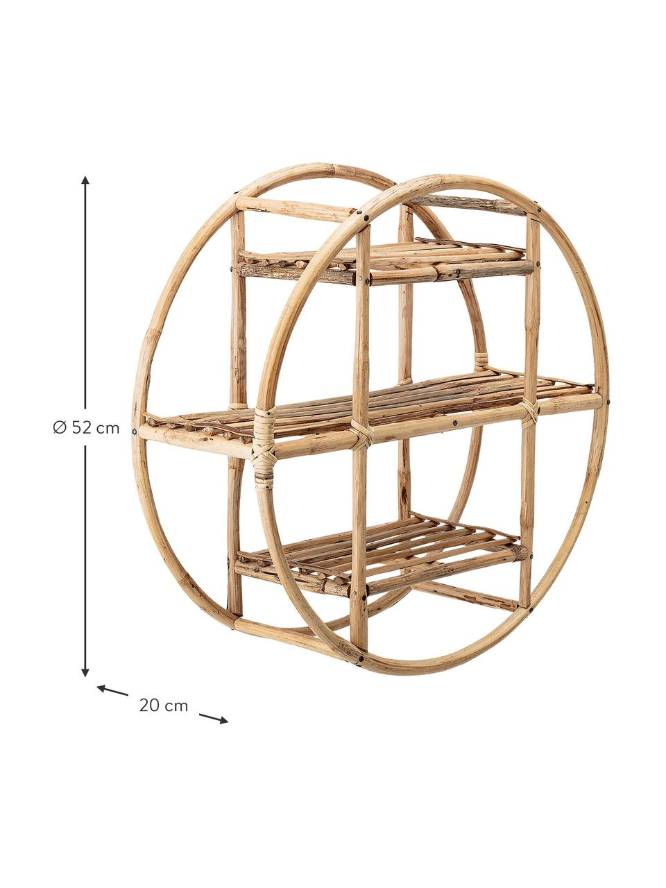 Rundes Bambus-Wandregal Sia, Schilfrohr, Braun, Ø 52 x T 20 cm