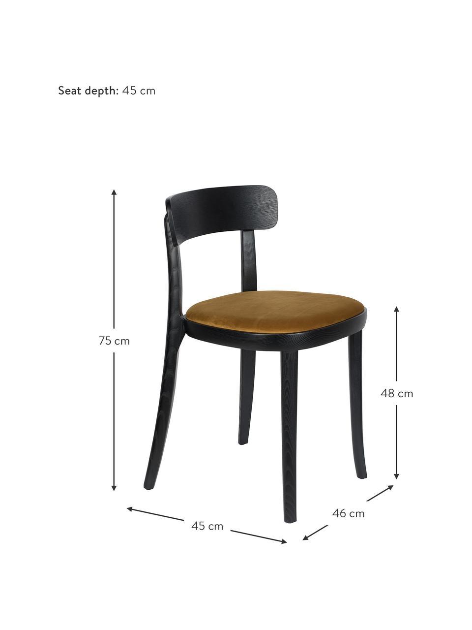 Holzstuhl Brandon mit Samt-Sitzfläche, Bezug: 100% Polyestersamt Der st, Rahmen: Eschenholz, massiv, lacki, Sitzfläche: Schichtholz, Gelb, B 46 x T 45 cm
