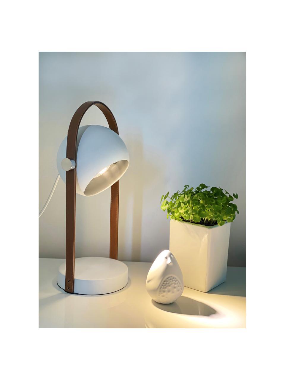 Lampada da tavolo con decoro in pelle Bow, Paralume: metallo rivestito, Struttura: similpelle, Base della lampada: metallo rivestito, Marrone, bianco, Larg. 15 x Lung. 38 cm