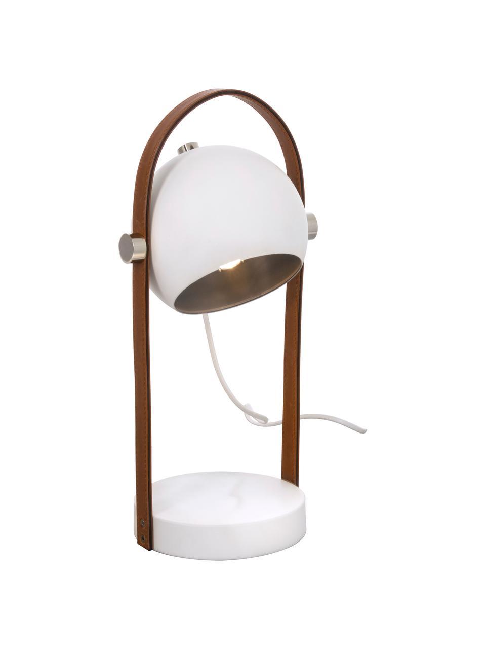 Lámpara de mesa con cuero Bow, Pantalla: metal recubierto, Estructura: cuero sintético, Cable: plástico, Marrón, blanco, An 15 x Al 38 cm