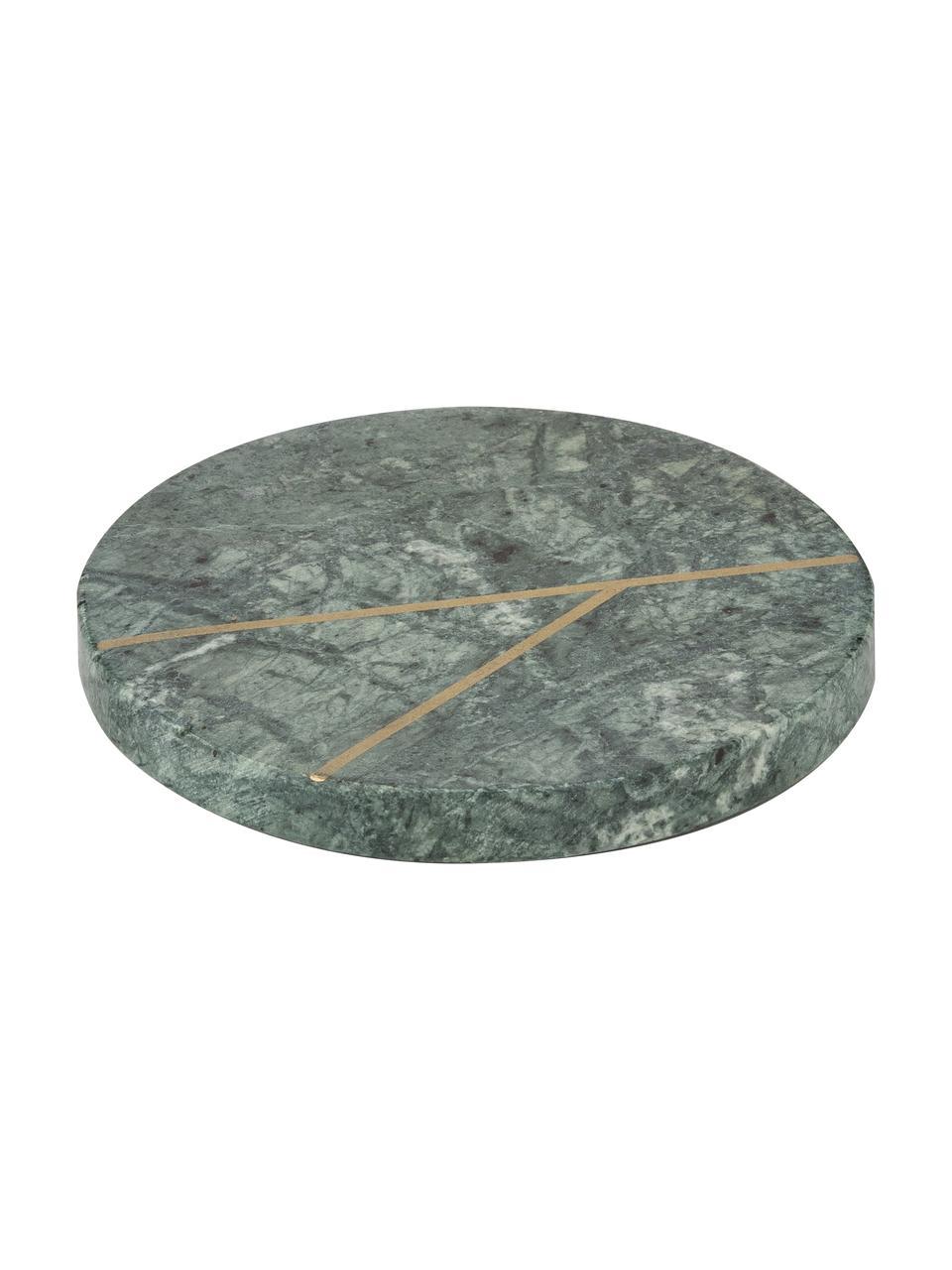 Sous-verre en marbre Marek, 4pièces, Vert marbré, couleur dorée