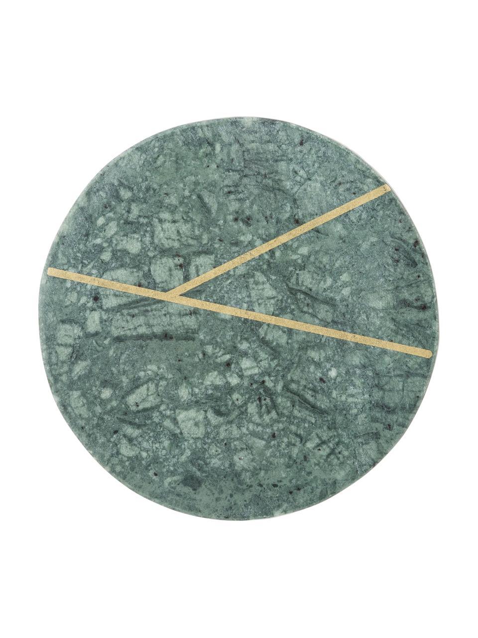 Marmor-Untersetzer Marek mit goldenen Details, 4 Stück, Marmor, Grün marmoriert, Goldfarben, Ø 10 x H 1 cm