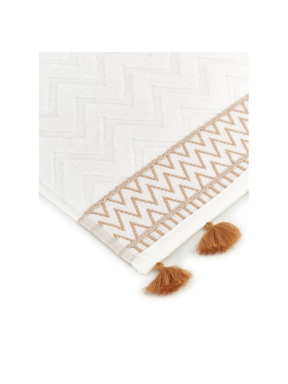 Handtuch Karma in verschiedenen Größen, mit Hoch-Tief-Muster, Weiß, Beige, Gästetuch