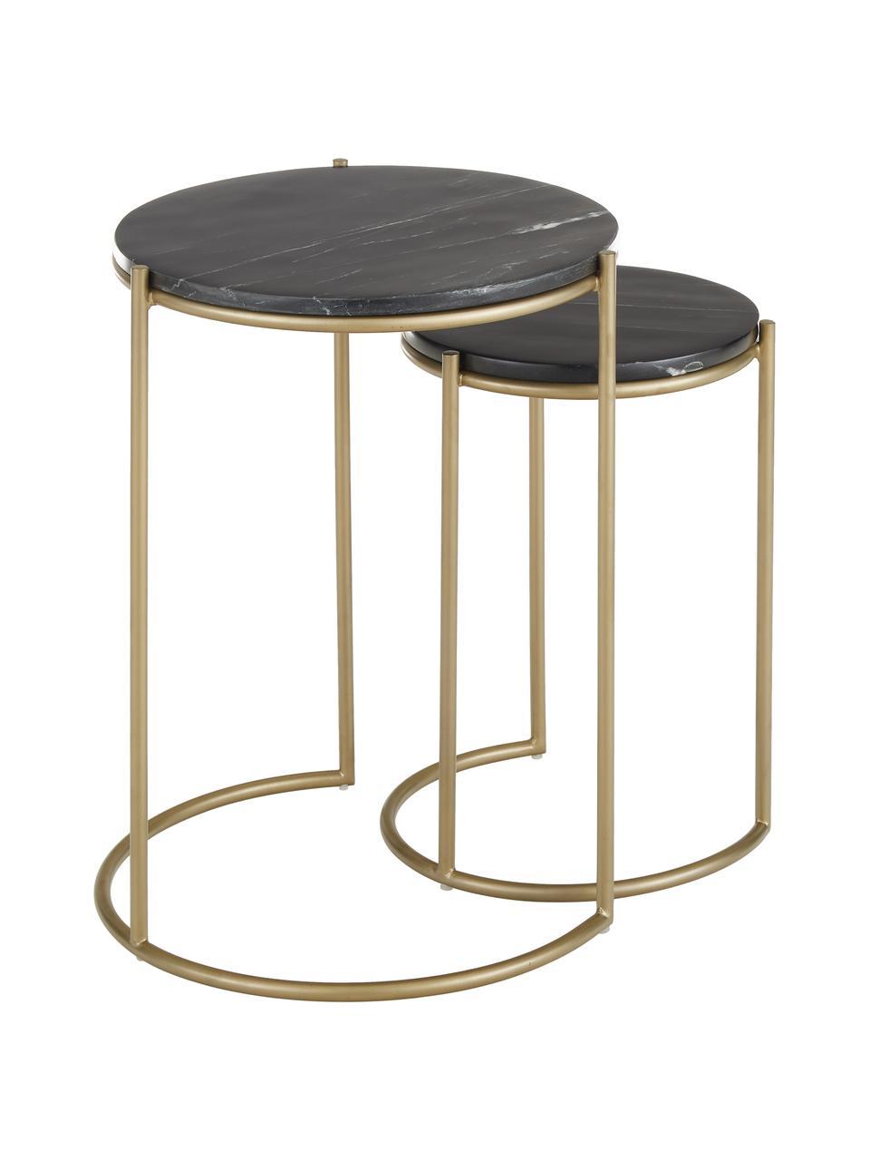 Set 2 tavolini con piano in marmo Ella, Ripiani: marmo, Struttura: metallo verniciato a polv, Piani d'appoggio: marmo nero Struttura: dorato opaco, Set in varie misure
