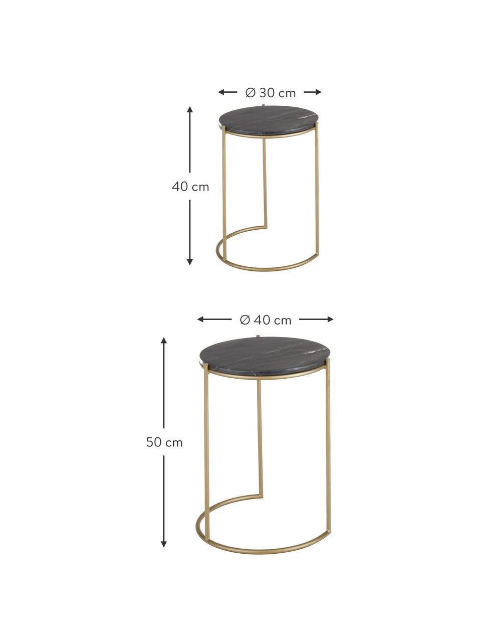 Marmor-Beistelltisch-Set Ella, 2-tlg., Schwarzer Marmor, Goldfarben, Sondergrößen