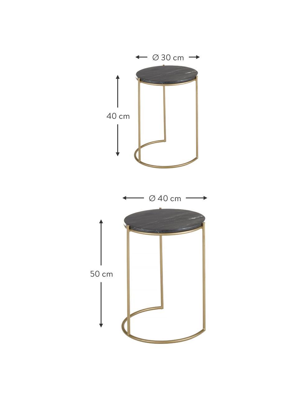 Komplet stolików pomocniczych z marmuru Ella, 2 elem., Czarny marmur, odcienie złotego, Komplet z różnymi rozmiarami