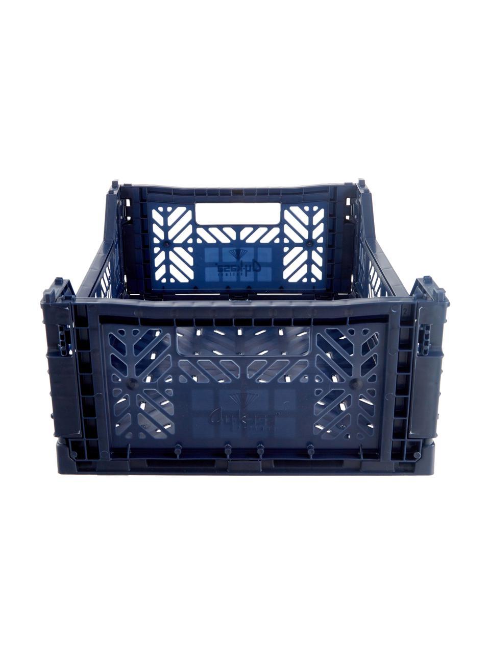 Cesto medio pieghevole e impilabile Navy, Materiale sintetico riciclato, Blu navy, Larg. 40 x Alt. 14 cm