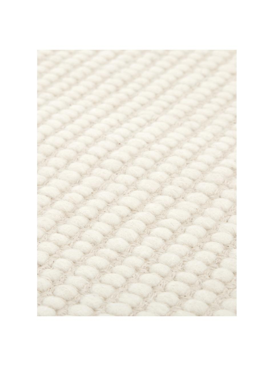 Handgewebter Wollläufer Amaro in Creme, Flor: 100% Wolle, Cremeweiß, 80 x 250 cm