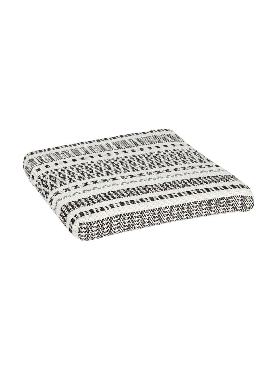 Gemustertes Sitzkissen Faroe aus recyceltem PET, PET, recycelt, Weiß, Schwarz, 40 x 40 cm