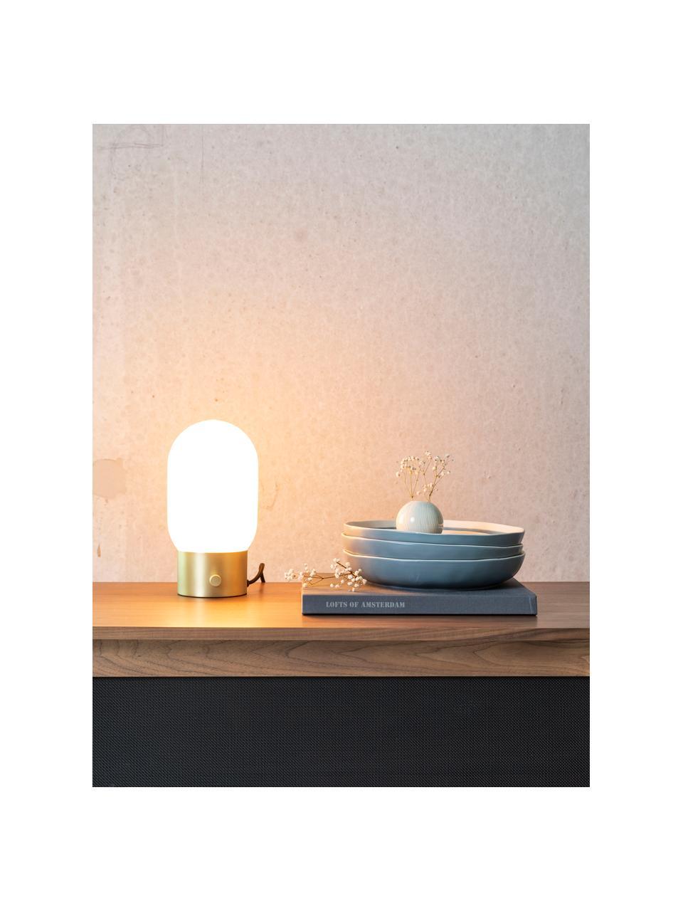 Lampka nocna z funkcją przyciemniania  i portem USB Urban, Odcienie złotego, biały, opalowy, Ø 13 x W 25 cm