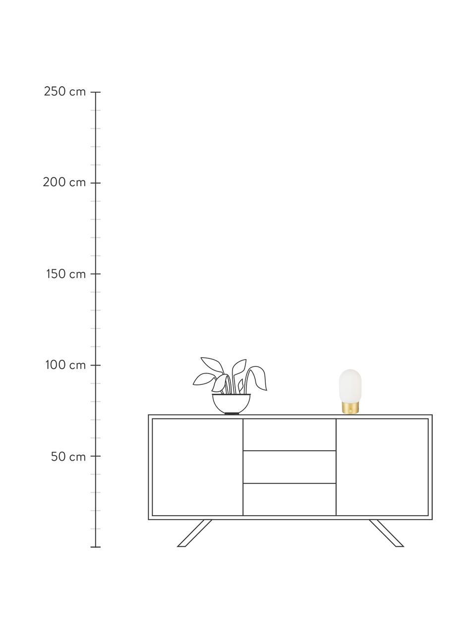 Lampada da tavolo con porta USB Urban, Paralume: vetro opale, Base della lampada: metallo rivestito, Dorato, bianco opalino, Ø 13 x Alt. 25 cm
