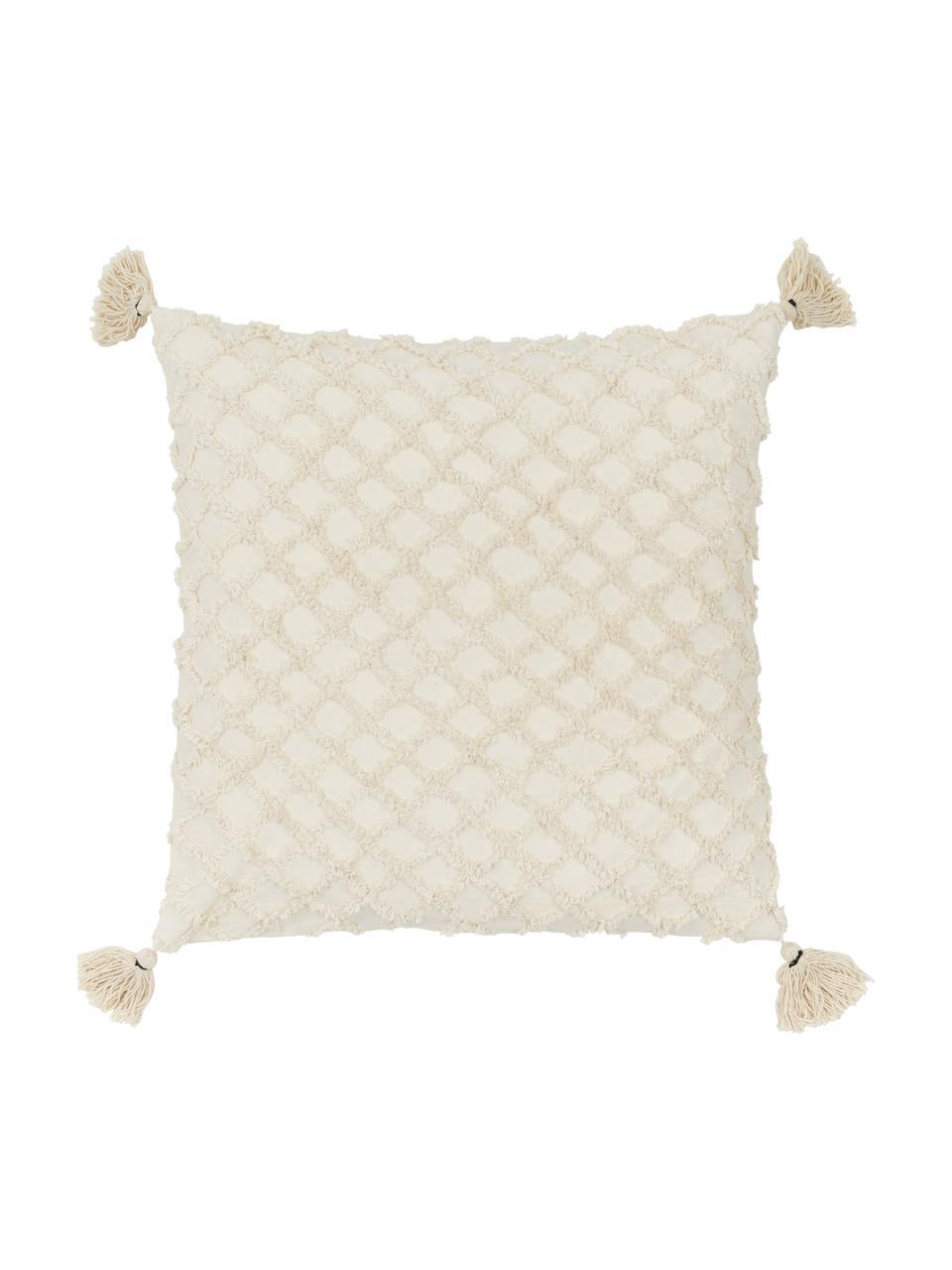 Kussenhoes Royal met hoog-laag structuur en kwastjes, Katoen, Gebroken wit, 45 x 45 cm