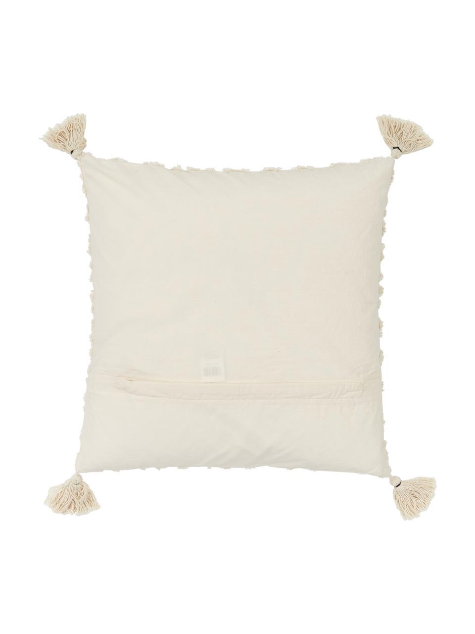Povlak na polštář se strukturovaným povrchem a střapci Royal, Světle bílá