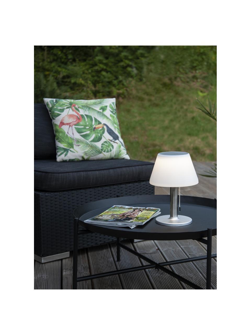 Solar Außentischlampe Solia, Lampenschirm: Kunststoff, Lampenfuß: Rostfreier Stahl, Weiß, Stahl, Ø 20 x H 28 cm