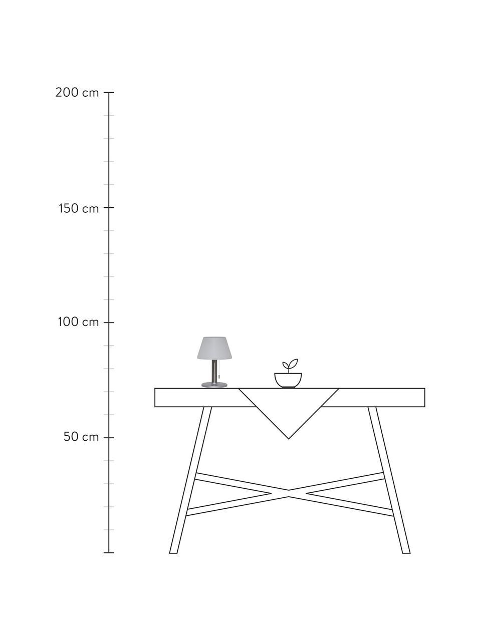 Lampada da tavolo solare da esterno Solia, Paralume: materiale sintetico, Base della lampada: acciaio inossidabile, Bianco, acciaio, Ø 20 x Alt. 28 cm