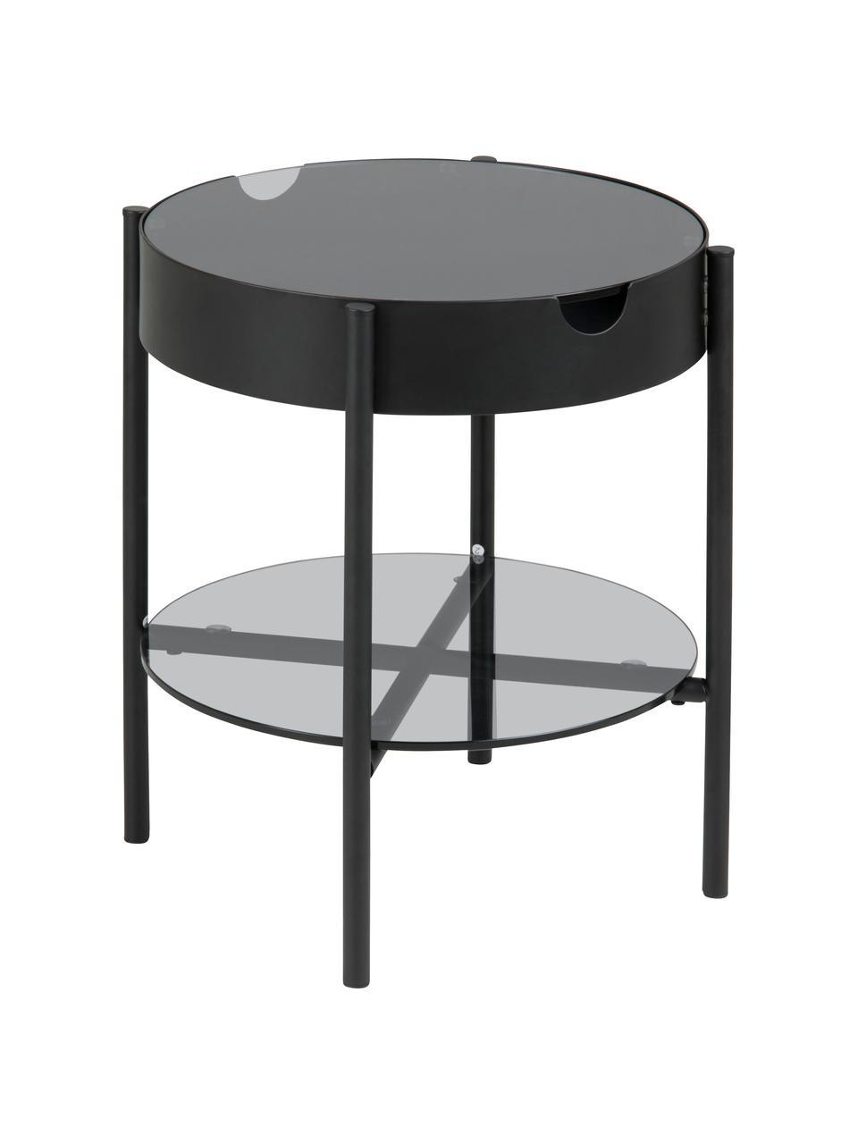 Tavolino contenitore in vetro Tipton, Vetro temperato, metallo, Grigio, nero, Ø 45 x Alt. 50 cm