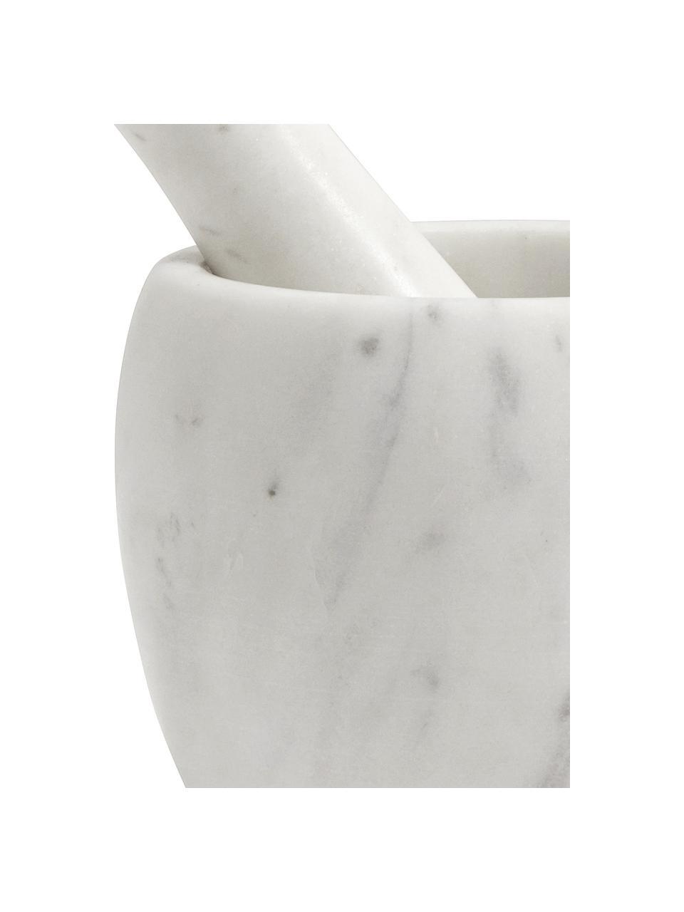 Marmeren vijzel- en stamperset Mortar, 2-delig, Marmer, Wit, Ø 12 x H 10 cm