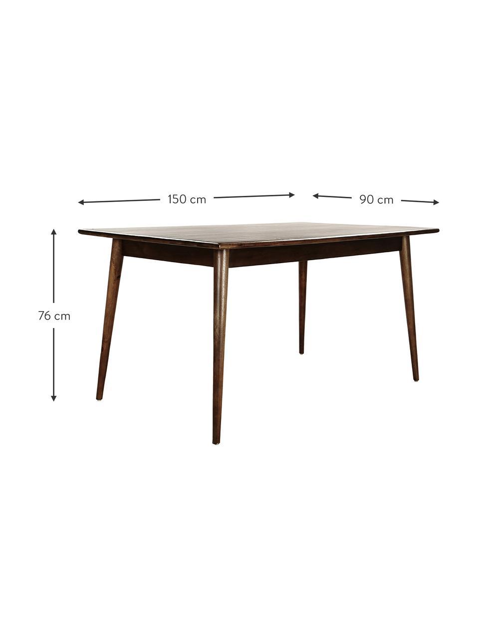 Stół do jadalni z drewna mangowego Oscar, Lite drewno mangowe, lakierowane, Ciemnybrązowy, S 180 x G 90 cm