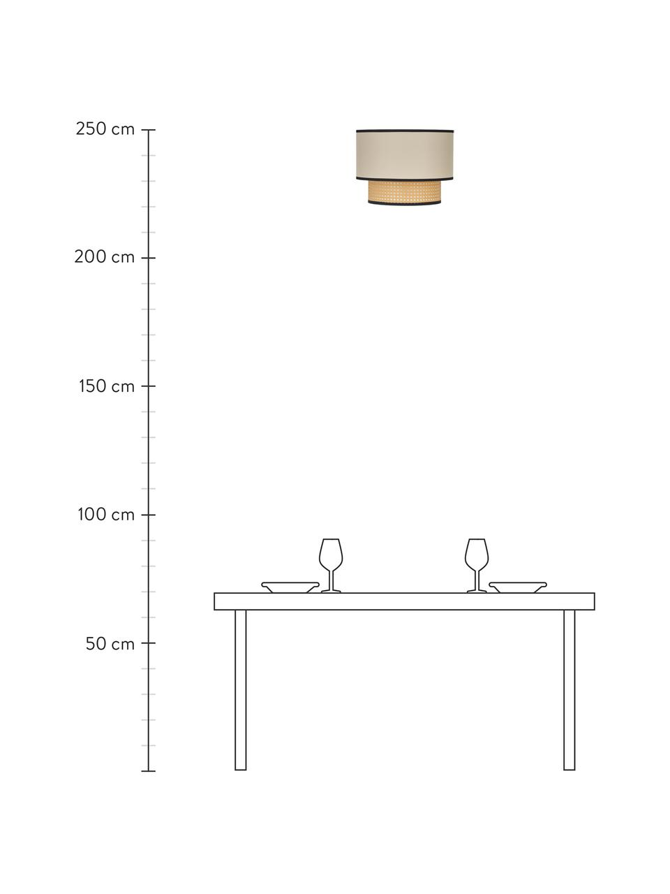 Plafondlamp Vienna van Weens vlechtwerk, Baldakijn: gepoedercoat metaal, Lampenkap: katoenmix, kunststof, Beige, zwart, crèmekleurig, Ø 40 x H 30 cm