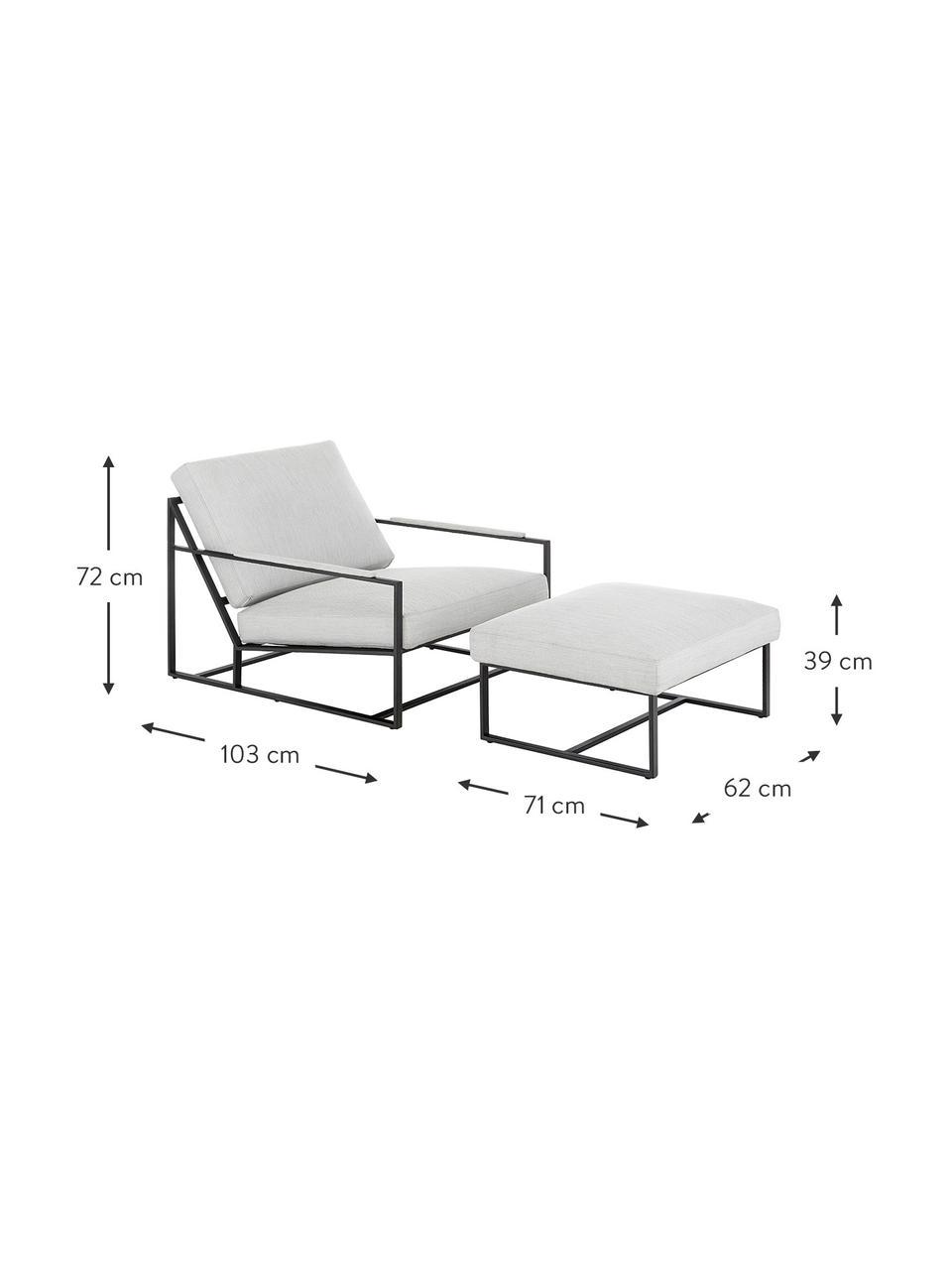 Lounge-Set Andy, 2-tlg. mit Metall-Gestell, Webstoff Hellgrau, Set mit verschiedenen Größen