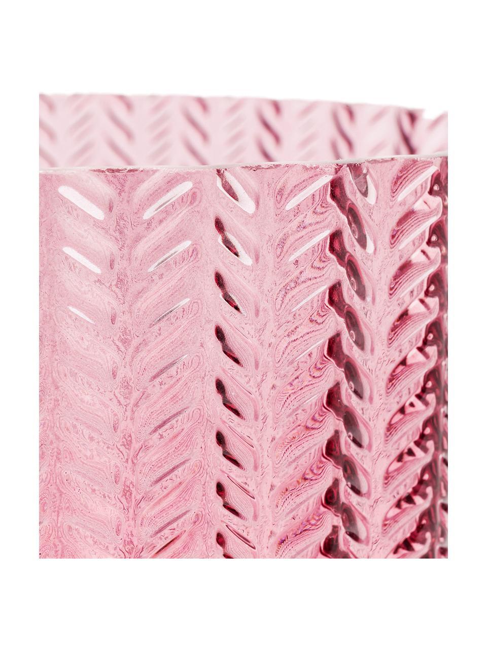 Glas-Vase Barfly mit Messingsockel, Vase: Glas gefärbt, Sockel: Messing, gebürstet, Rosa, transparent, Ø 17 x H 24 cm