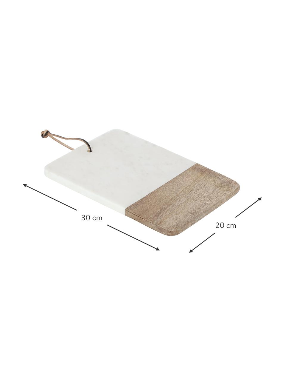 Marmeren snijplank Danelle, L 30 x B 20 cm, Ophanglus: kunstleer, Mangohout, wit, gemarmerd, 20 x 30 cm