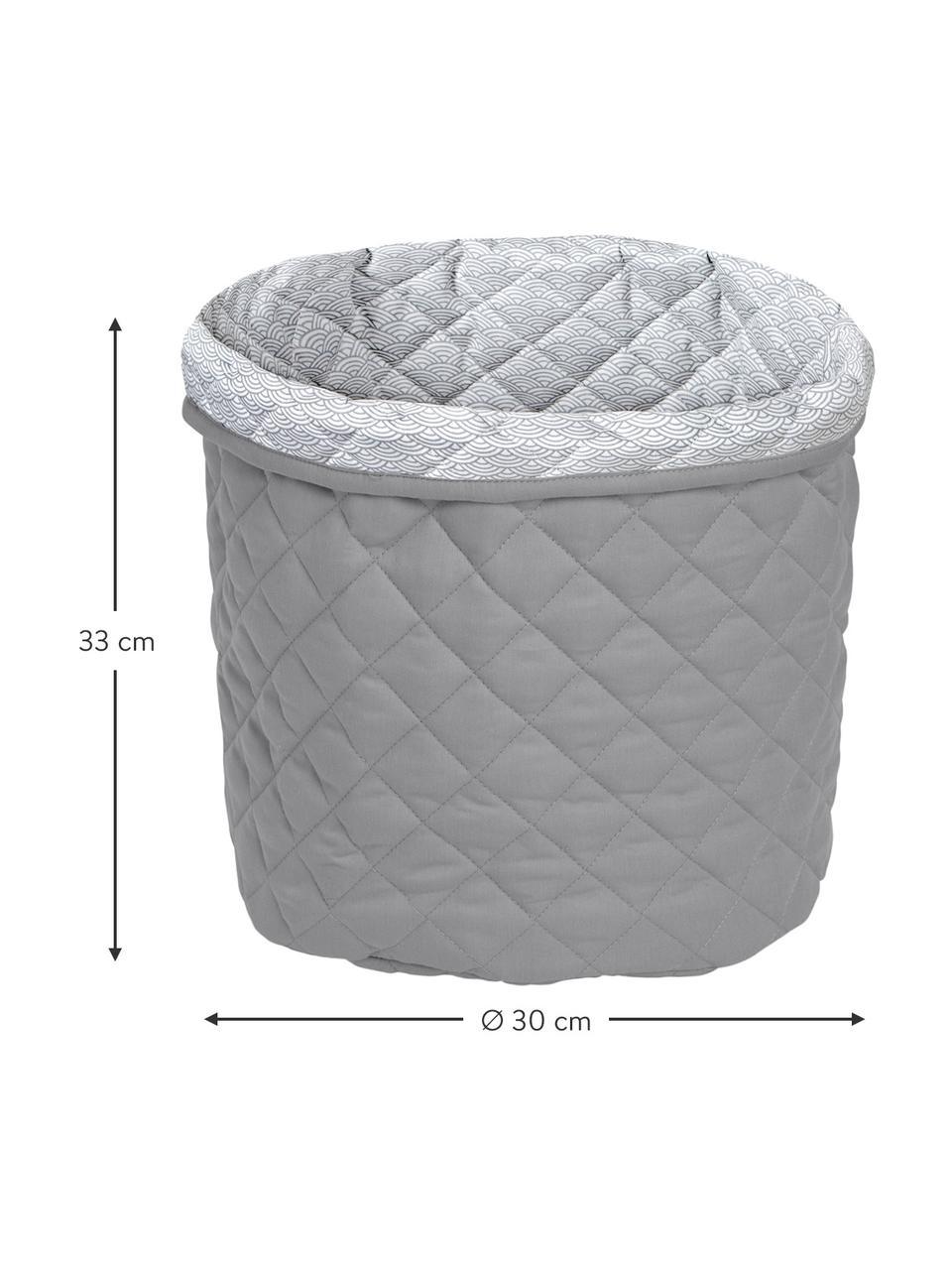 Aufbewahrungskorb Wave aus Bio-Baumwolle, Bezug: 100% Biobaumwolle, Öko-Te, Grau, Ø 30 x H 33 cm