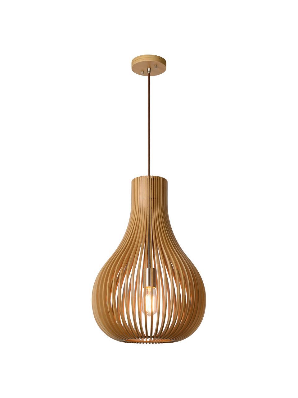 Pendelleuchte Bodo aus Holz, Lampenschirm: Holz, Baldachin: Holz, Braun, Ø 38 x H 55 cm