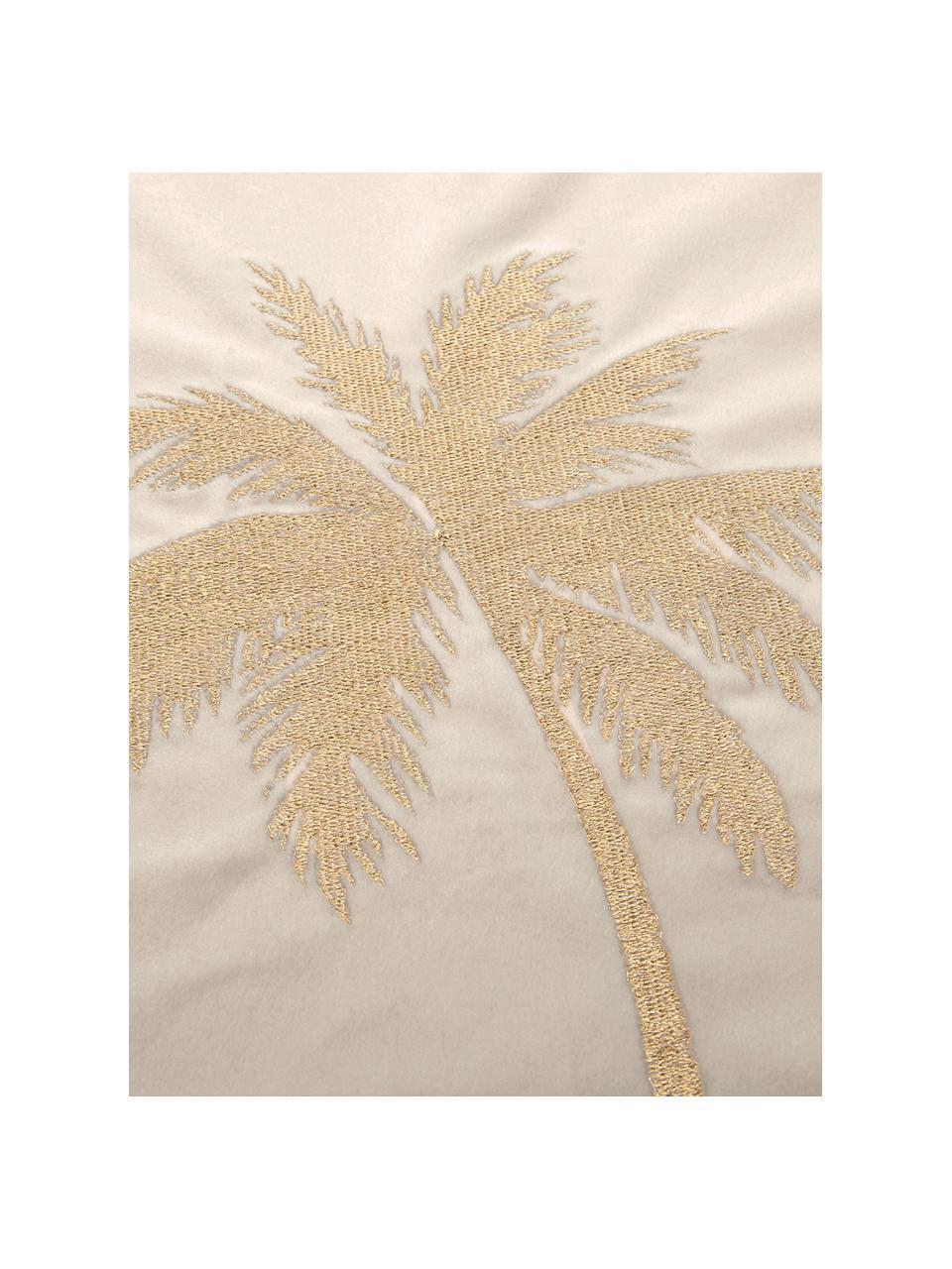 Glanzende fluwelen kussenhoes Palmsprings met borduurwerk, 100% polyester fluweel, Crèmewit, goudkleurig, 40 x 40 cm