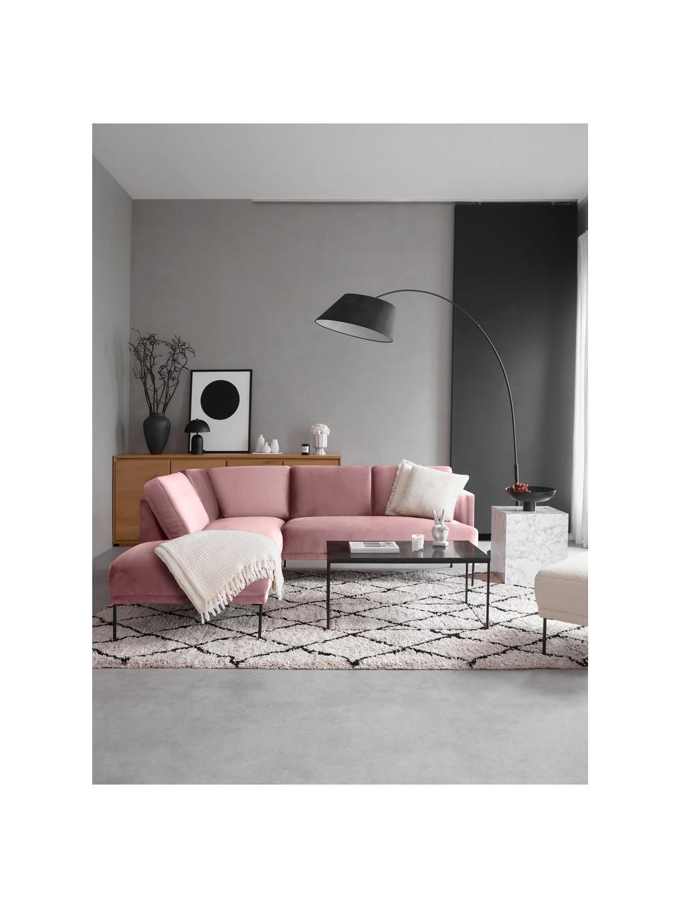 Canapé d'angle velours rose pieds en métal Fluente, Velours rose