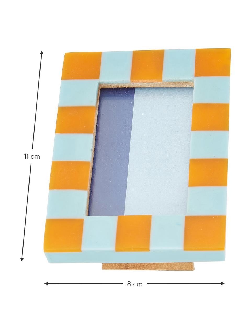Bilderrahmen Check, Polyresin, Mitteldichte Holzfaserplatte (MDF), Blau, Orange, 8 x 11 cm