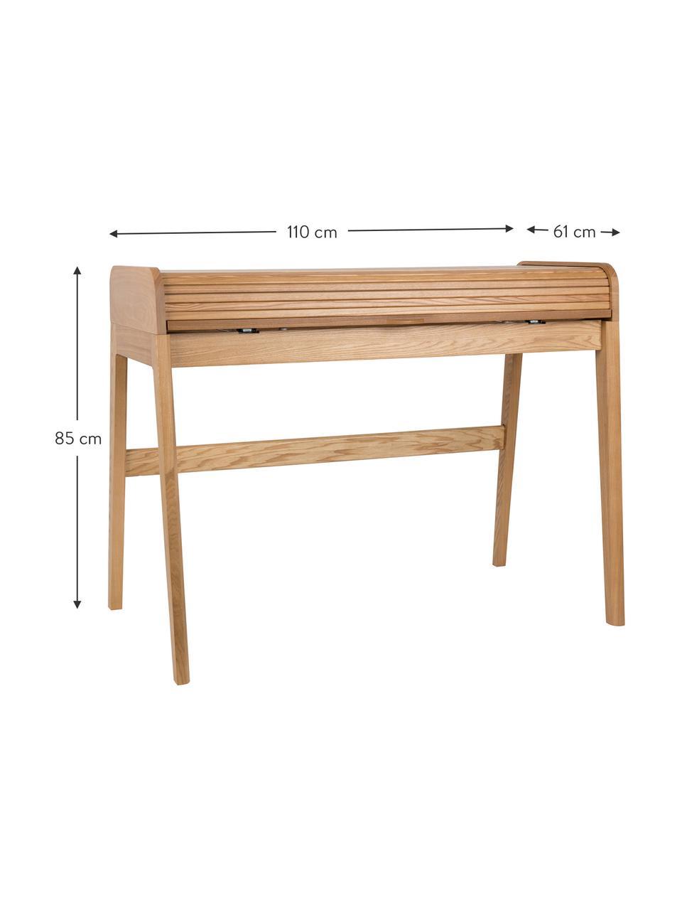 Holz-Schreibtisch Barbier in Hellbraun, Tischplatte: Mitteldichte Holzfaserpla, Eschenholz, 110 x 85 cm