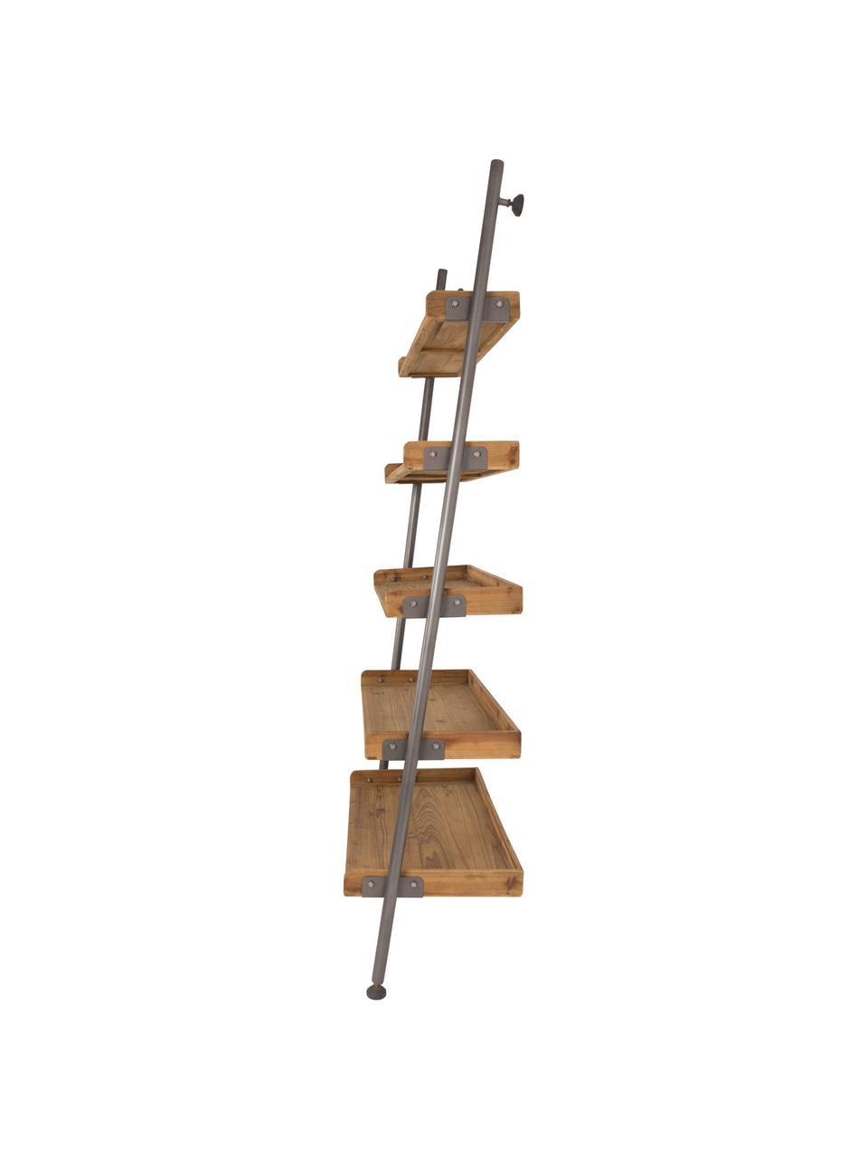 Leiterregal Wally im Vintage Design, Gestell: Metall, pulverbeschichtet, Braun, 86 x 200 cm