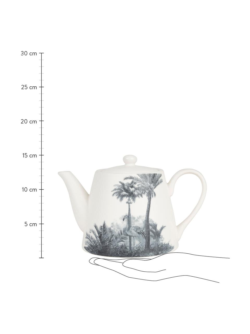 Teekanne Papaye mit Palmenmotiven, Porzellan, Weiß, Schwarz, 850 ml