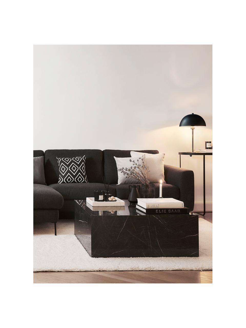 Strick-Wendekissenhülle Chuck mit grafischem Muster in Schwarz/Weiß, 100% Baumwolle, Schwarz, Cremeweiß, 40 x 40 cm