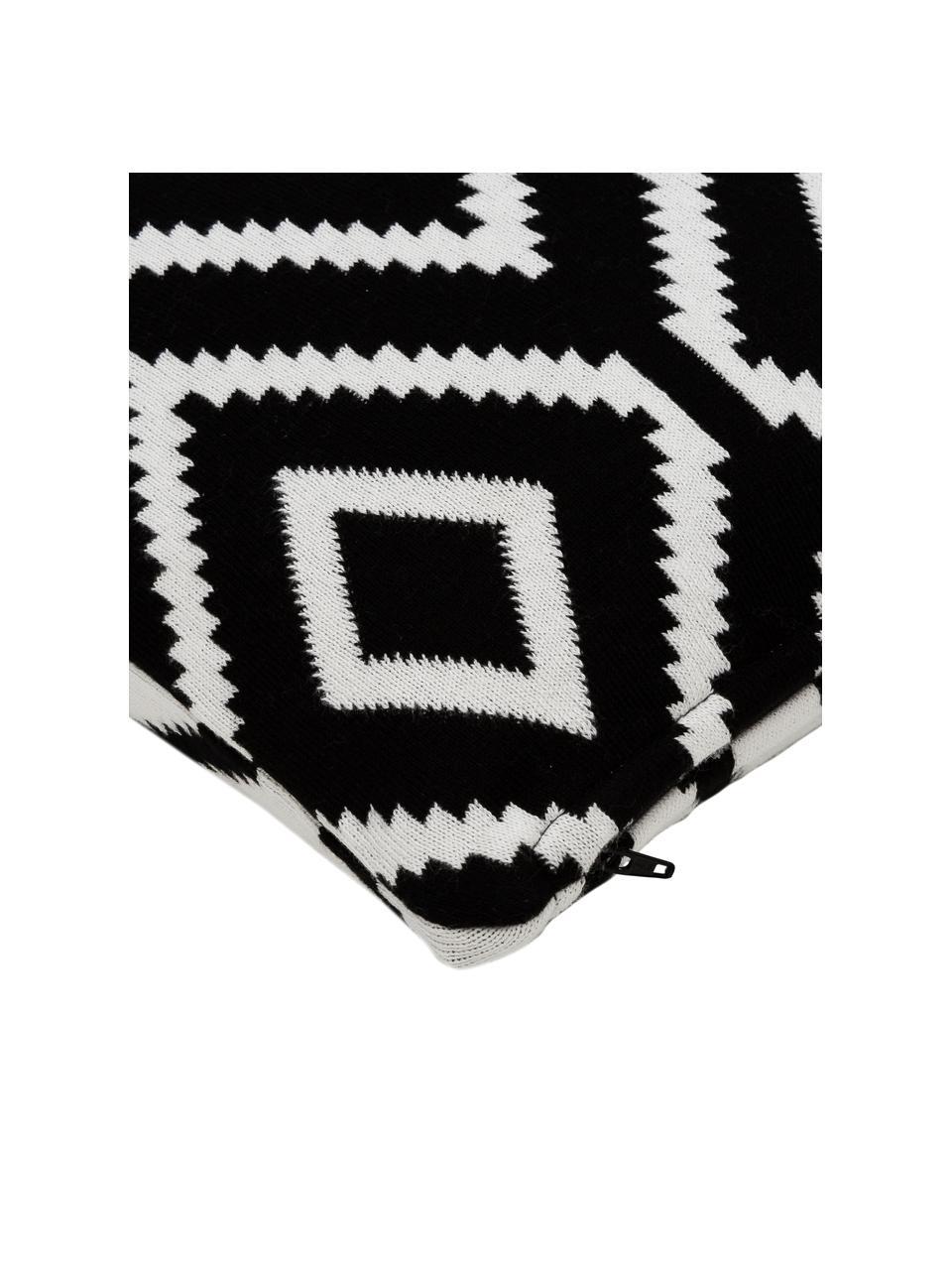 Federa arredo fatta a maglia reversibile Chuck, 100% cotone, Nero, crema, Larg. 40 x Lung. 40 cm