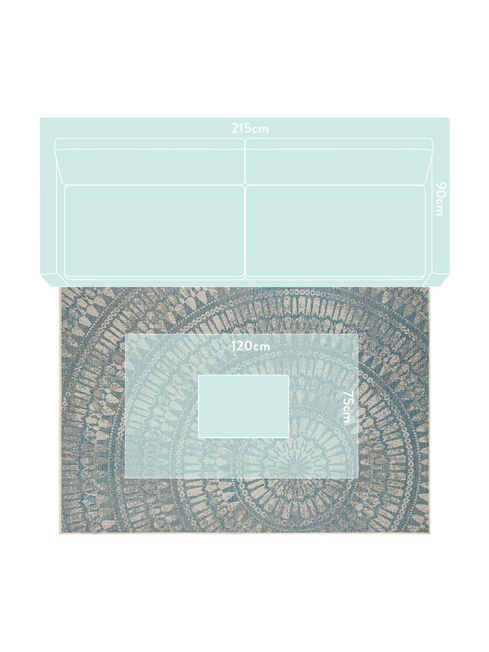 Tapis intérieur-extérieur avec imprimés Arnon, Turquoise, beige