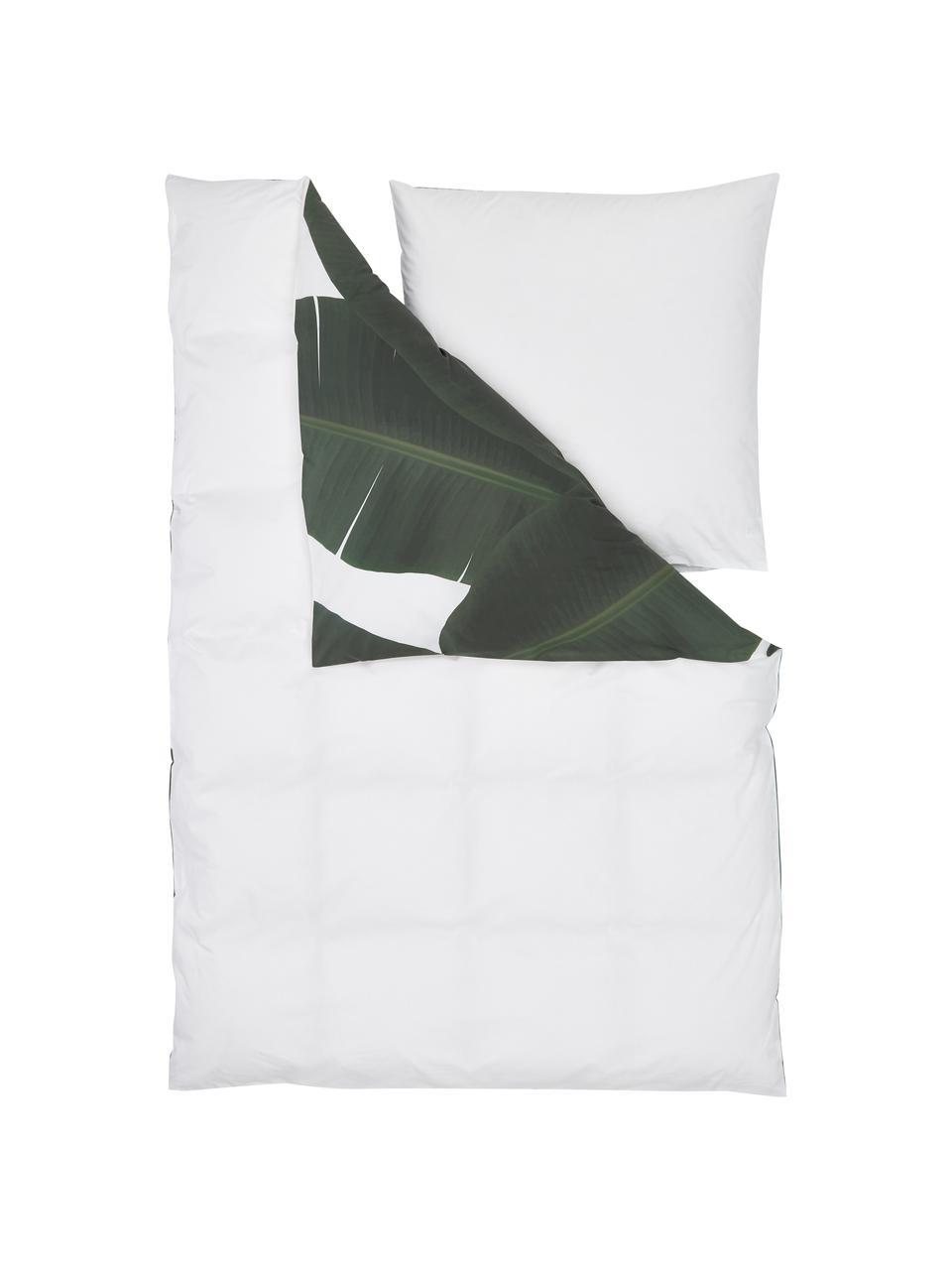 Pościel z perkalu Banana, Przód: odcienie zielonego, biały Tył: biały, gładki, 240 x 220 cm