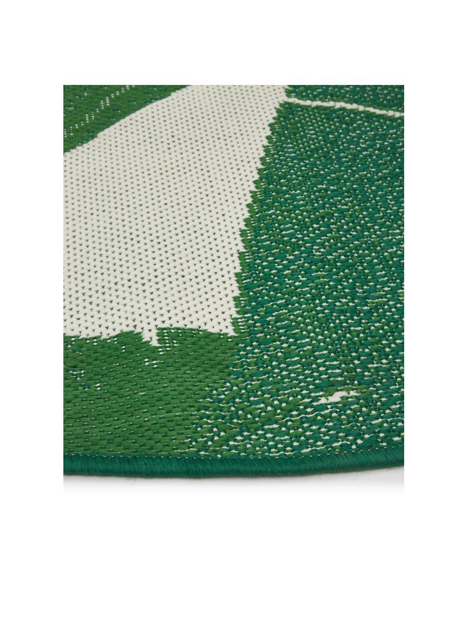 In- & Outdoor-Teppich Jungle mit Blattmuster, 86% Polypropylen, 14% Polyester, Weiß,Grün, Ø 140 cm (Größe M)
