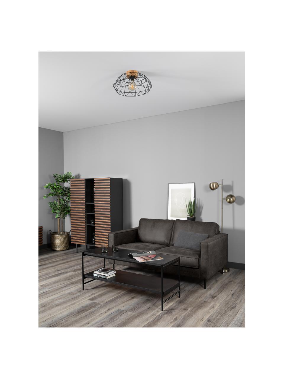 Sofa skórzana z recyklingu Hunter (2-osobowa), Tapicerka: skóra z recyklingu (70% s, Nogi: tworzywo sztuczne, Szarobrązowy, S 164 x G 90 cm