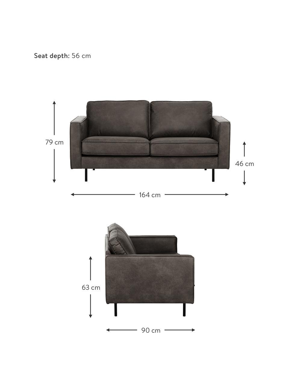 Sofa Hunter (2-Sitzer) in Braungrau aus recyceltem Leder, Bezug: Recyceltes Leder (70% Led, Gestell: Massives Birkenholz und h, Füße: Metall, pulverbeschichtet, Leder Braungrau, B 164 cm x T 90 cm
