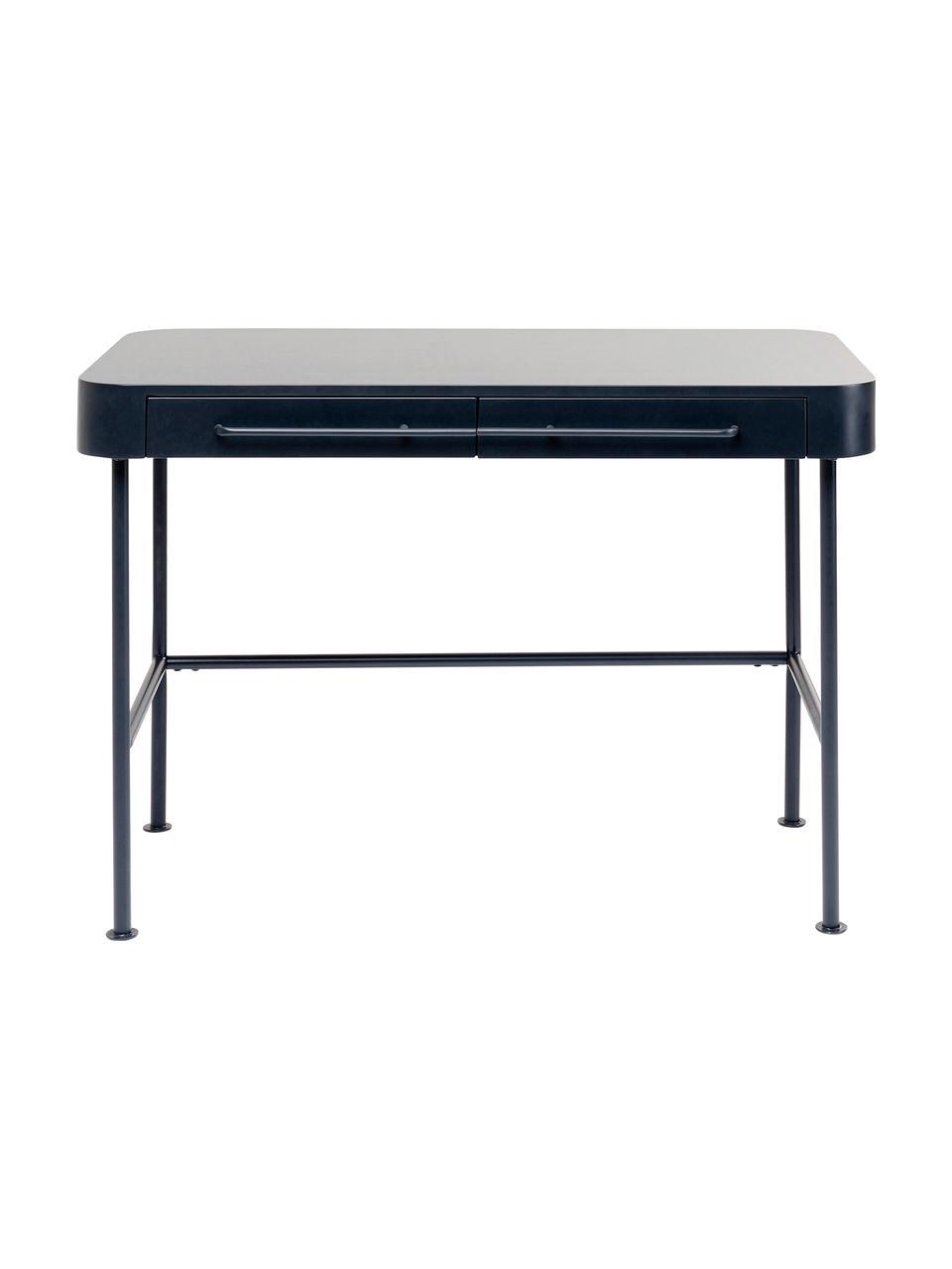 Schreibtisch Montieri in Dunkelgrau, Beine: Stahl, pulverbeschichtet, Griffe: Stahl, pulverbeschichtet, Anthrazit, B 100 x T 55 cm