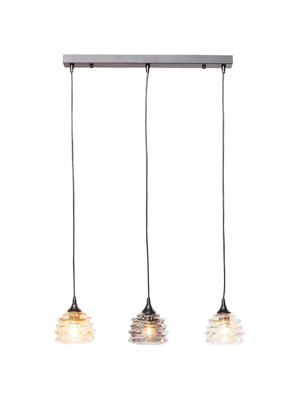 Hanglamp Ruffle, Lampenkap: glas, Baldakijn: gelakt staal, Oranje, grijs, amberkleurig, 69 x 17 cm