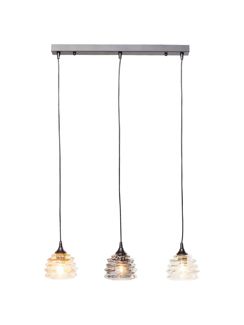 Závesná lampa Ruffle, Oranžová, sivá, odtiene jantárovej